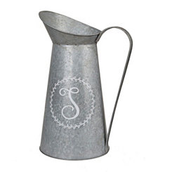 Galvanized Metal Monogram S Pitcher Vase