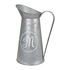 Galvanized Metal Monogram M Pitcher Vase