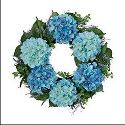 Blue Hydrangea Bunch Wreath