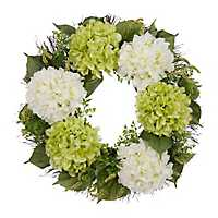 Green and White Hydrangea Wreath