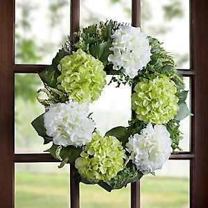 Green and White Hydrangea Wreath