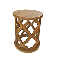 Open Weave Teak Bath Stool