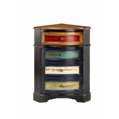 Multicolored Antique Corner Cabinet