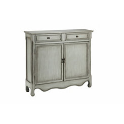 Painted Gray Scalloped Cabinet