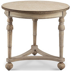 Fabric Top Nailhead Round Accent Table