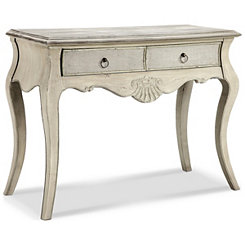 Gray Scalloped Shell Console Table