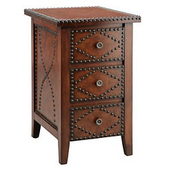 Chairside Bronze Nailhead Accent Table