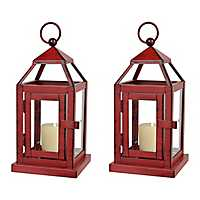 Red Miniature Metal Lanterns, Set of 2