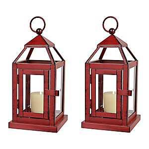 Red Miniature Metal Lanterns, Set of 2