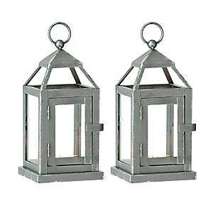 Silver Miniature Metal Lanterns, Set of 2