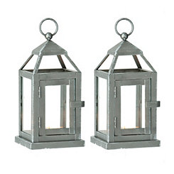 Silver Miniature Metal Lanterns, Set of 2