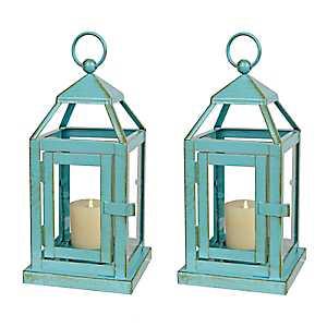 Turquoise Miniature Metal Lanterns, Set of 2