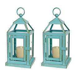 Turquoise Miniature Metal Lanterns, Set of 2