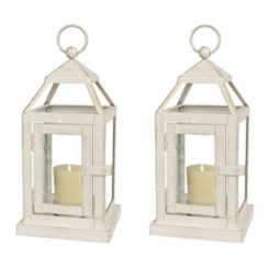 White Miniature Metal Lanterns, Set of 2