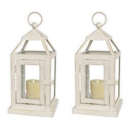 White Miniature Metal Lanterns, Set of 2
