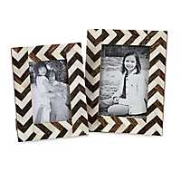 Chevron Bone Inlay Picture Frames, Set of 2