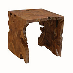 Natural Arch Teak Wood Square Side Table
