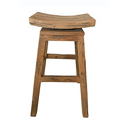 Distressed Mahogany Swivel Bar Stool