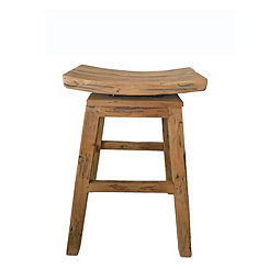 Distressed Mahogany Swivel Counter Stool