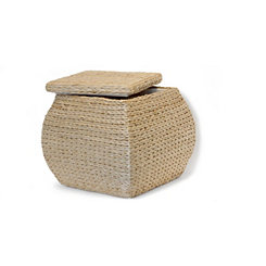 Natural Havana Weave Square Buldge Storage Ottoman