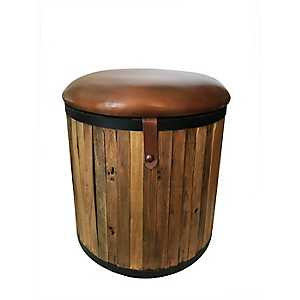 Teak Leather Cushioned Round Stool