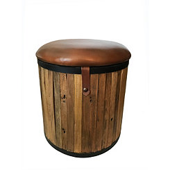 Teak Leather Cushioned Round Stool