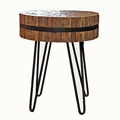 Reclaimed Wood Slat Round Accent Table