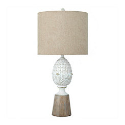 Distressed White Pinecone Table Lamp