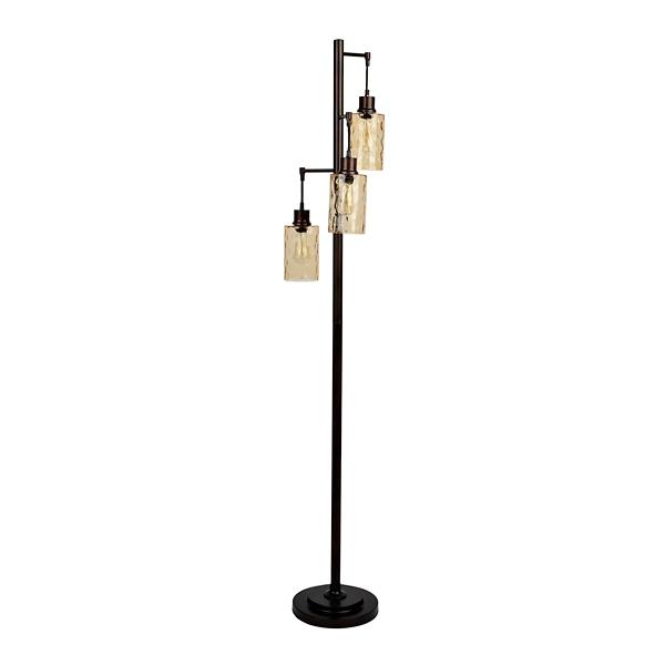 amber glass triple edison bulb floor lamp