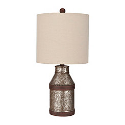 Antique Distressed Silver Table Lamp