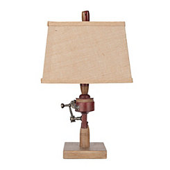 Antique Red Fishing Reel Table Lamp