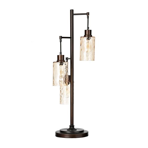 Amber Glass Triple Edison Bulb Table Lamp