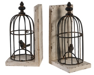 Bird Cage Bookends, Set of 2