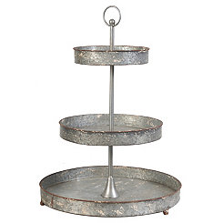 3-Tier Galvanized Metal Stand