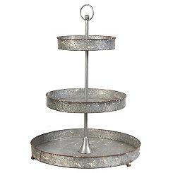 3-Tier Galvanized Metal Stand