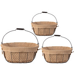 Chicken Wire Lined Baskets, Set of 3