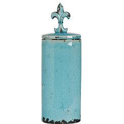 Blue Fleur-de-Lis Ceramic Jar