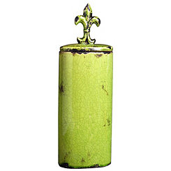 Green Fleur-de-Lis Ceramic Jar
