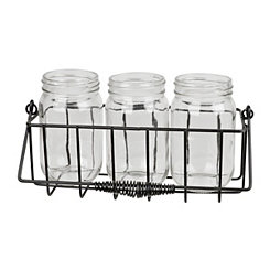 Black Metal and Mason Jar Flatware Caddy