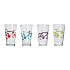 Wanderlust Bicycle Glass Tumblers, Set of 4