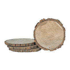 Natural Wood Bark Edge Coasters, Set of 4