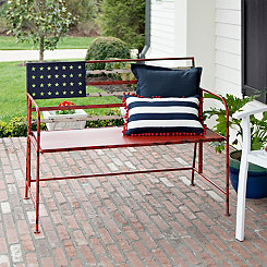 American Flag Metal Bench