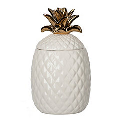 White And Gold Ceramic Pineapple Cookie Jar