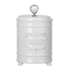 White Jewel Knob Cookie Jar
