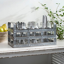 Galvanized Metal and Glass Jar Flatware Caddy