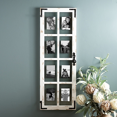 distressed wood and metal windowpane collage frame - Windowpane Picture Frame