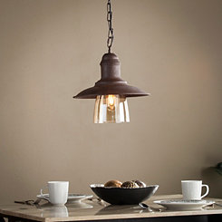 Lindley Metal and Glass Bell Pendant Lamp