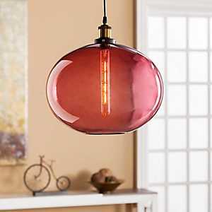 Liona Magenta Glass Pendant Lamp