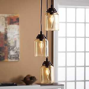 Gabriella Amber Glass Triple Pendant Lamp