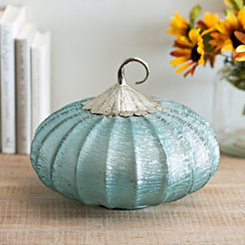 Light Blue Foil Glass Pumpkin, 11 in.